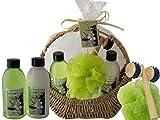 """Salsacollection """"Bamboo Harmony"""" Geschenkset Kosmetikset Korb mit Henkel aus geflochtenem Seegras gefüllt mit 4 Pflegeprodukten"""