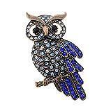 Cosanter Brooches Pins Elegant Hollow Rhinestone Owl Designed Brooch Pin for Wedding Prom Dark Blue