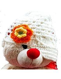 LadyMYP©Handgemachte Strickmütze, Babymütze, Kindermütze, Hüte, 100% Wolle, weiße Mütze mit orange-gelber Blüte