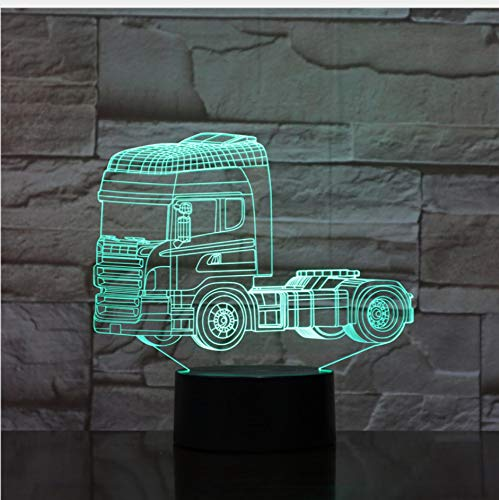 Super Heavy Truck Shapes 3D Night Light 7 Cambiare i colori illusion LED Lampada Touch Switch USB