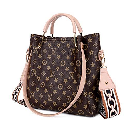 Ein Satz zwei Koffer Tasche weiblich 2019 alte Blume Umhängetasche Mode Kind Tasche Wild Print Retro Handtasche (Light pink, 28 × 9 × 30 cm)