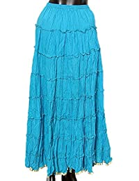 DollsofIndia Blue Crushed Skirt With Zari Border - Adjustable Waist Length 39 Inches - Blue