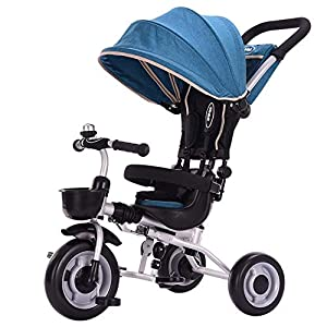 GSDZSY - Foldable Children Tricycle 4 IN 1 With Comfortable Seat With Fence And Seat Belt, Adjustable Putter And Awning, 1-6 Years Old   12