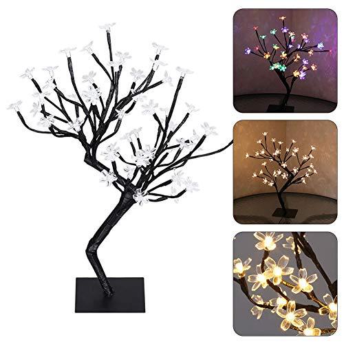 P12cheng Veilleuse Design Néoterique 40 LED Fleurs de Cerisier Lampe de Table USB Lampe de Vacances Décoration Maison Blanc Chaud 40 cm