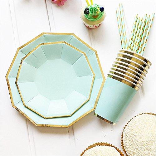 Sue supply premium party supplies gold blocking pure color verde menta usa e getta servizio da tavola per feste–piatti, bicchieri, di lusso, paglia