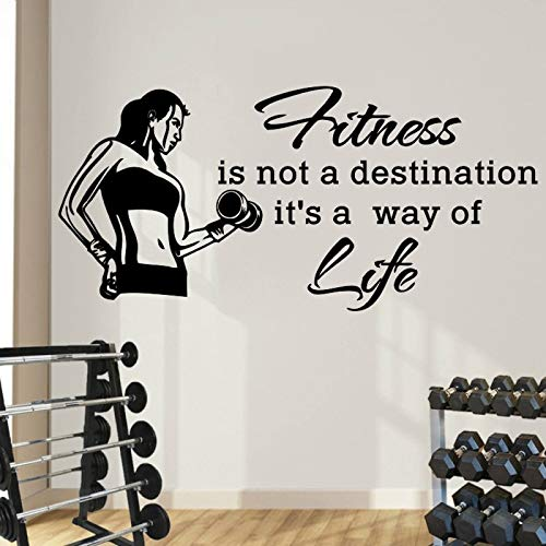 Sport stickers murali citazioni fitness is not destination it's way of life adesivo in vinile palestra fitness salute sport arte murale 42x82cm