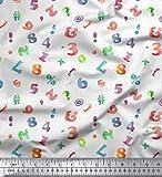 Soimoi Weiß Baumwoll-Voile Stoff Bunte geometrische Zahl &