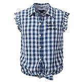 Blue Rebel Karierte Mädchen Kurzarm-Bluse Zum Knoten Größe 134-140