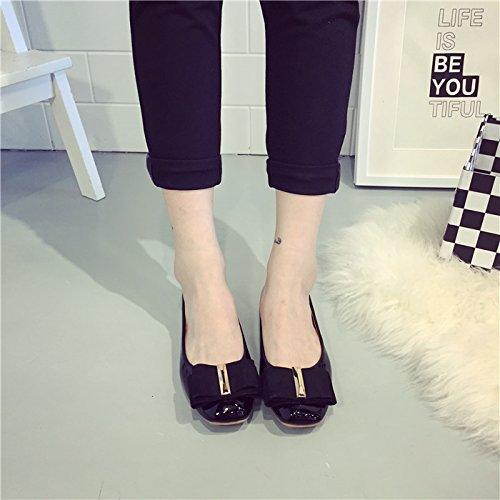 WYMBS Nouveau printemps chaussures confortables en cuir Talon plat tirer bow chaussures plates femmes bouche peu profonde Black