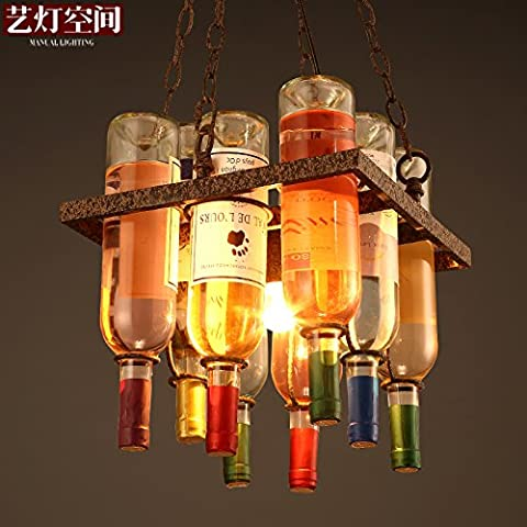 Quietness @ Decorated With Chandeliers Creative Wine Bottle Personality Art Chandeliers 300*330MM Pendant Lamp for Kids Bedroom Dinning Room Living Room Warehouse 220V-240V