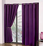 "Thermal Blackout Eyelet Curtain Pair, Ready Made Light Reducing Ring Top Curtains, Energy Saving, By Olivia Rocco (90"" (Width) x 90"" (Drop), Purple)"