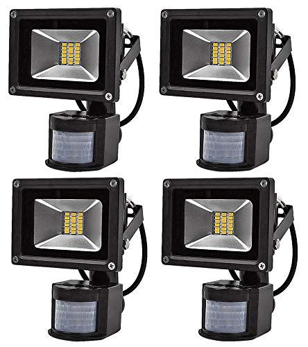 Leetop 4X Interior y Exterior 20W LED Focos Blanco Cálido con Sensor...