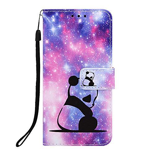 Miagon für Samsung Galaxy J4 Plus 2018 Leder Hülle,Klapphülle mit Kartenfach Brieftasche Lederhülle Stossfest Handy Hülle Klappbar,Süß Panda