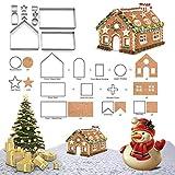 Cortadores de la galleta de la casa de pan de jengibre de la Navidad 3D para el kit de los cortadores del invierno y de la Navidad del día de fiesta, empaquetado 10 pedazos de la caja de regalo