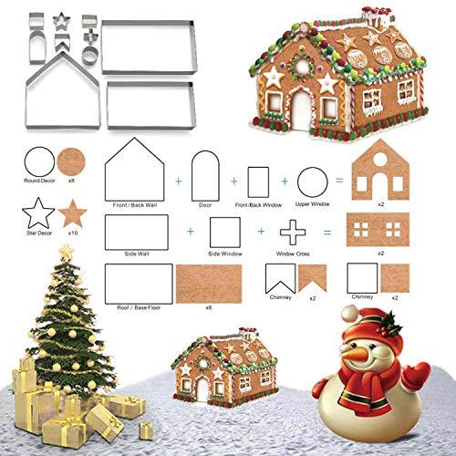 3D Weihnachten Lebkuchen Haus Ausstechformen für Urlaub Winter & Weihnachten Schneider Kit, Geschenkbox Verpackung 10 Stück Set