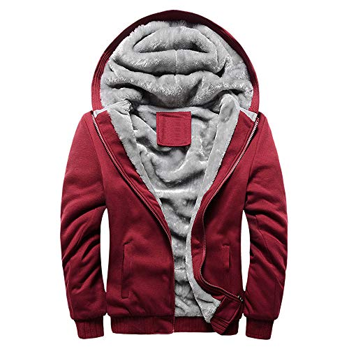 Abrigo de Chaqueta de suéter,JiaMeng Hombre Sudadera con Capucha Winter Warm Fleece Zipper de Invierno Geographical (Rojo,XL)