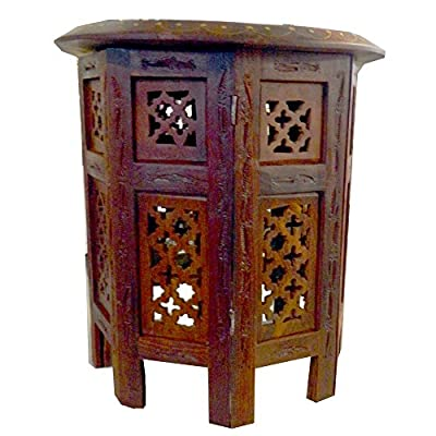 Side table with octagonal foot 40cm carving sheesham wood india decoration furniture - low-cost UK light store.