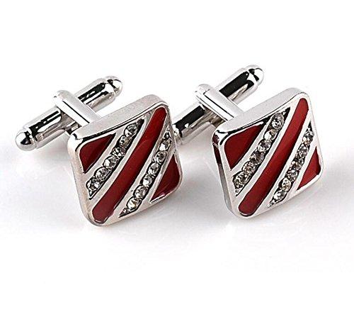 Preisvergleich Produktbild Hosaire Manschettenknöpfe Herren Hemd Cufflinks Rote Stripe Form Manschettenknopf(1 paar)