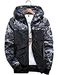 Homme Veste Coupe-vent Camouflage Multifonction Veste à Capuche Running Softshell Manteau