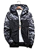 Shepretty Herren Jacke Kapuzen Frühling Herbst Windbreaker Camouflage Casual Zip-Hoodie Sportswear Laufjacke