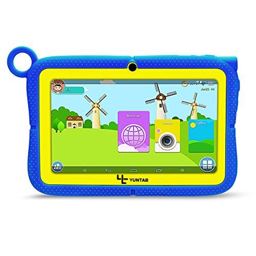Yuntab Q88 tablet kids 7 Zoll Allwinner A33 Android 4.4 Quad-core1.5GHz Google Tablet PC HD Capacitive Multi-Touch-Bildschirm 8GB Dual Kamera 8Go Google Play Eingebaut Iwawa und Pädagogische Spiele mit Silikonhülle für Kinder. (blau)
