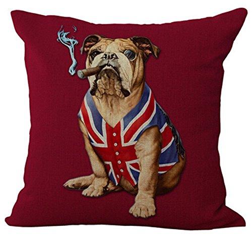 DCOCY Kreative Persönlichkeit American Flagge und Union Jack Pet Hund Baumwolle Leinen Überwurf Kissen Fall Personalisierte Kissenbezug 18× 45,7cm