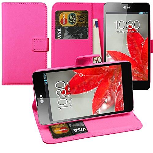 Original Lanboo® Wallet / Buch Tasche mit Magnetverschluss für LG Optimus G - E975 - Pink - Mlc Tasche
