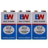 VITREND (R-TM) EW 6F22 9 Volts High Power Long Life Batteries ( 3 Pcs)