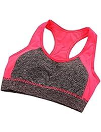 TAOtTAO - Sujetador deportivo para mujer con cuello elástico a juego, sin costuras, para