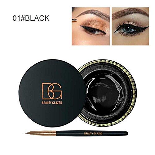 Beauty Glazed Eyeliner Gel Crème Avec La Brosse de Maquillage Cosmétique Waterproof Imperméable Eye Liner Brosse Kit Noir