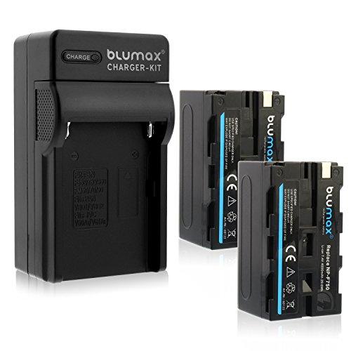 Blumax 2X Akku ersetzt Sony NP-F750/F970/F960/F550-4000mAh + Ladegerät inkl. KFZ Ladekabel -