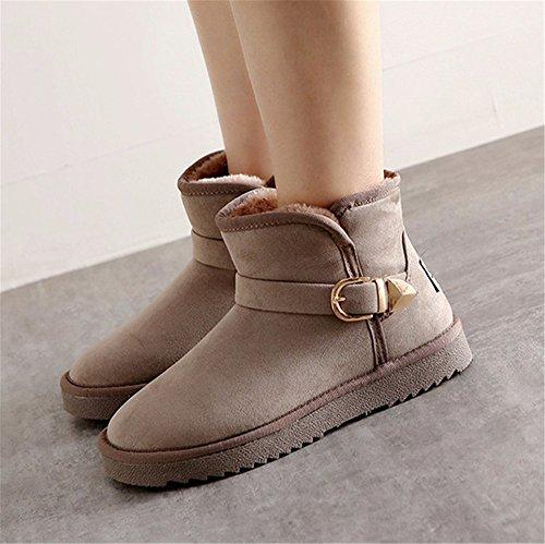 FLYRCX La signora di autunno e inverno Snow Boots e moda casual cashmere dense e calde Mianwa antislittamento dimensione europea: 35-40 A