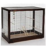 Vogelkäfig, Fichte, herausnehmbares Plexiglas-Schubfach für leichte Reinigung