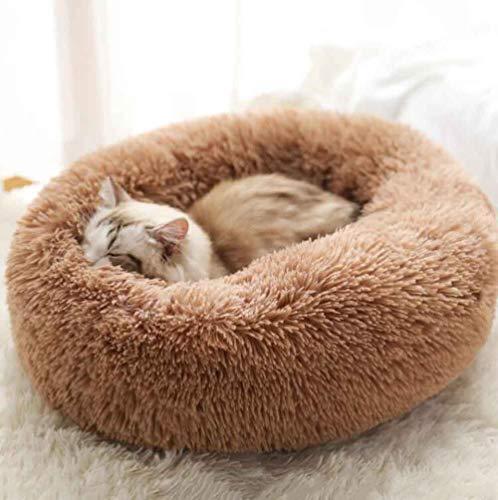 MTHDD Haustierbett für Hunde und Katzen Weiches Plüsch Donut Nestbett Rund Warm Kuschelig rutschfeste Unterseite Maschinenwaschbar,X,S:40CM