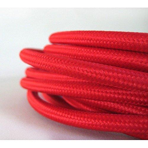 Cable eléctrico trenzado, color rojo, diseño vintage de tela (PRECIO X METRO)