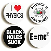 PHYSICS AWESOME SCHOOL SCIENCE BADGE BUTTON PIN SET (Size is 1inch/25mm diameter)