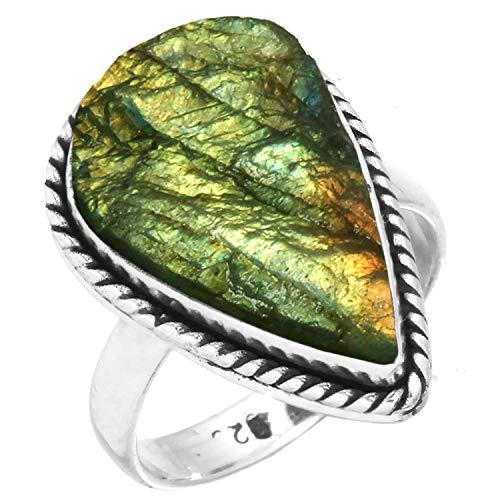 925 Sterling Silber Mode Schmuck Natürliche Der Labradorit Druzy Ring Größe 50 (15.9) ()