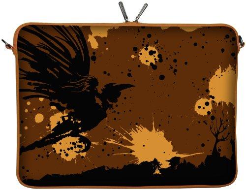 Digittrade LS171-17 Mystery Designer Laptop Tasche 17 Zoll Notebook Sleeve Hülle Schutzhülle Neopren bis 43,9 cm (17,3 Zoll) Bag Case Halloween braun- beige