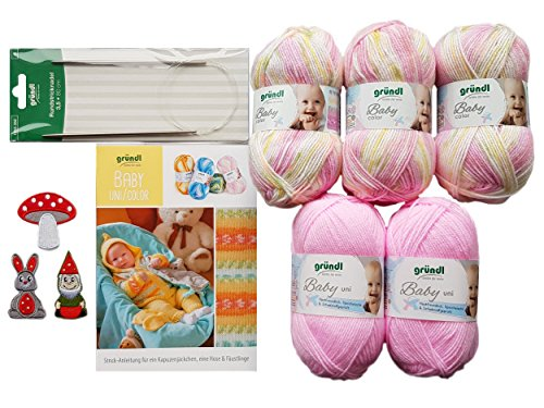5X 50 Gramm Gründl Baby Uni/Color Wolle SB Pack inkl. Strick-Anleitung für Ein Kapuzenjäckchen, Eine Hose & Fäustlinge, Rundstricknadel und 1 Bügelflickmotiv (02 Rosa Mix)