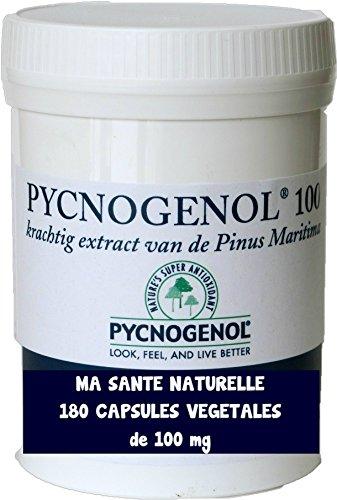 PYCNOGENOL 100mg (Pro Kapsel) 180pflanzliche Kapseln (Dosierung bis 6Monaten)-Extrakt Rinde des Kiefer Maritime die wächst auf die Küsten sablonneuses im Süden von Bordeaux