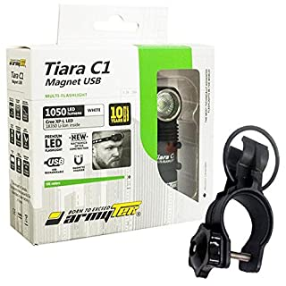 Combo: Armytek Tiara C1 Pro v3 XP-L LED USB Rechargeable Headlamp -1050 Lumens -Battery Included +Bike Mount