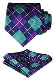 HISDERN Herren Krawatte Taschentuch Check Krawatte & Einstecktuch Set