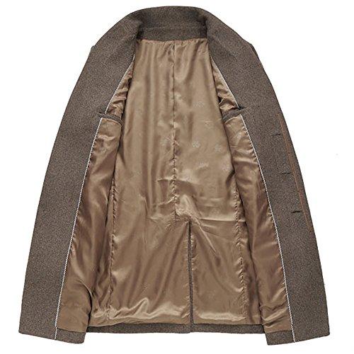 iBaste Herren Wollmantel Elegante Wintermantel Winterjacke Winter Herbst Jacket Herren Mantel Jacke Männer Parka Trenchcoat Stehkragen Khaki