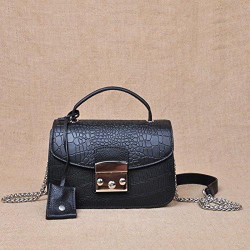 Vêtements femme sac à main en cuir sacs en cuir motif crocodile sac de messager d'épaule mini petit paquet par paquet parti Black