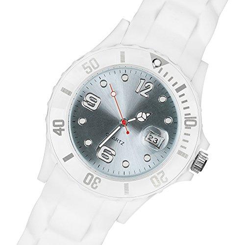 Taffstyle Damen Herren Sportuhr Armbanduhr Silikon Sport Watch Farbiges Ziffernblatt mit Datum Analog Quarz Uhr Weiß Hellblau