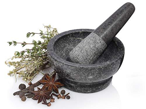 Sänger Mörser mit Stößel aus Granit in Dunkelgrau | Gesamtdurchmesser 11 cm | Zerkleinern Sie Ihre frischen Zutaten wie Gewürze oder Kräuter kinderleicht
