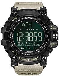 Reloj Inteligente con Bluetooth, Reloj Deportivo, recordatorios, Deportes al Aire Libre, Reloj electrónico, Compatible con iOS, Sistema Android, teléfono y Equipo(Caqui)