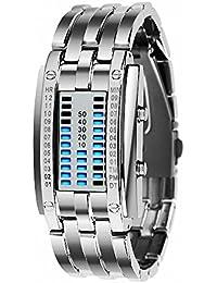 Términos Unisex de la juventud de los estudiantes de la correa de acero inoxidable reloj de pulsera Digital binario LED…