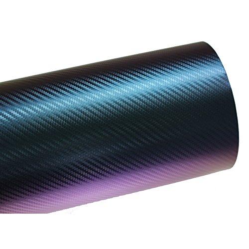 Finest Folia (10,56€/m²) BS05 3D Chamäleon Blau Carbonfolie BLASENFREI Luftkanäle Auto Folie (300 cm x 142 cm)