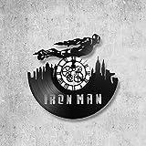 Horloge murale en vinyle 33 tours fait-main/thème Iron man, avengers, marvel, film, fantastique